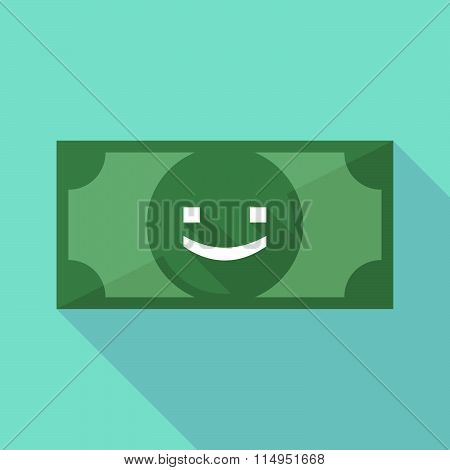 Long Shadow Banknote Icon With A Smile Text Face