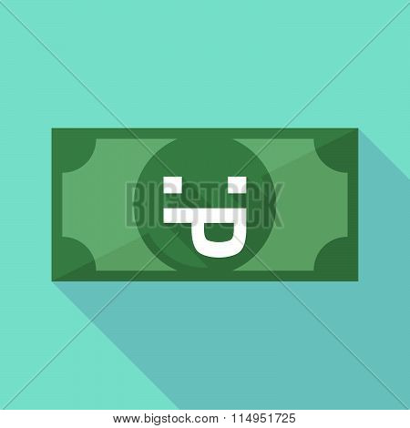 Long Shadow Banknote Icon With A Sticking Out Tongue Text Face