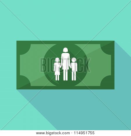 Long Shadow Banknote Icon With A Female Single Parent Family Pictogram