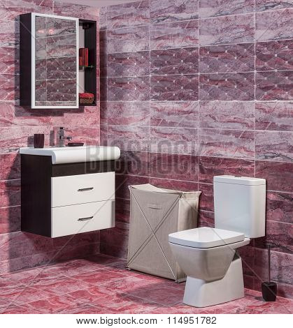 Inside Of Fashionable Bathroom In Red Color - Toilet And Sink