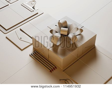 Closeup of modern business elements on the white background. 3d render