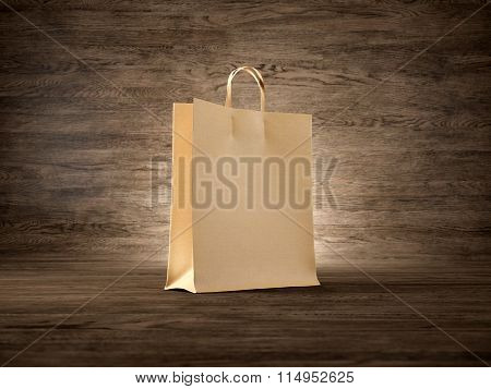 Concept of craft shopping bag wooden background. Focus on the bag. 3d render