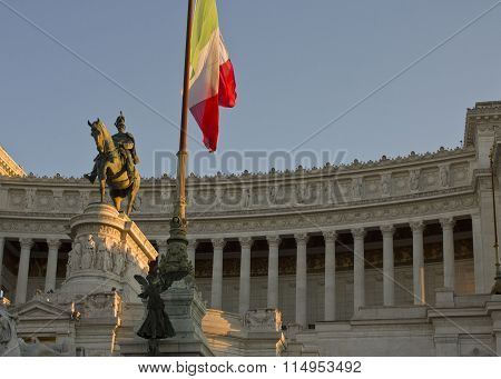 Day Close Up Of The Equestrian Statue Of Emmanuel Ii In Rome, With Ital