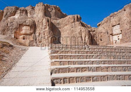 Stairs To Historical Monuments Of Naqsh-e Rustam, Ancient Necropolis Near Persepolis, Iran.
