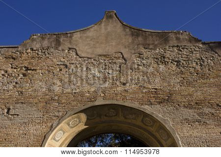 Arch Close-up In The Baths Of Diocletian Complex In Rome