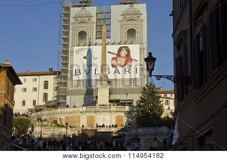 Day View From Of The Spanish Steps Of Piazza Di Spagna