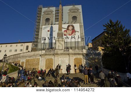 Day View Of The Spanish Steps Of Piazza Di Spagna
