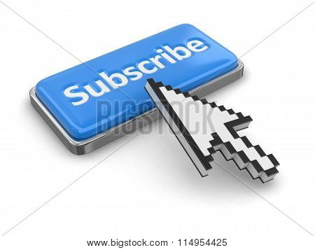 Cursor and button subscribe. Image with clipping path