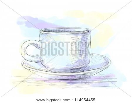 Hand drawn pencil sketch of cup