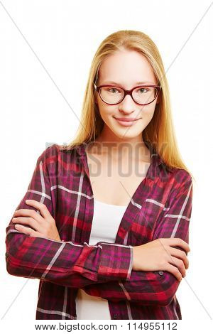 Blonde young woman with her arms crossed and nerd glasses