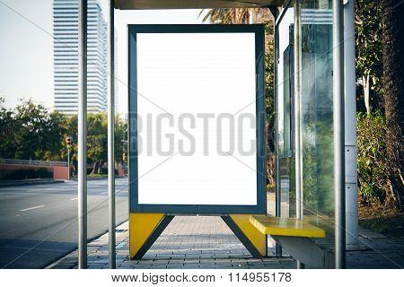Blank lightbox on the bus stop. Horizontal mockup