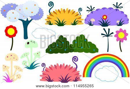 Flat Tree Flower Plants Rainbow Cloud