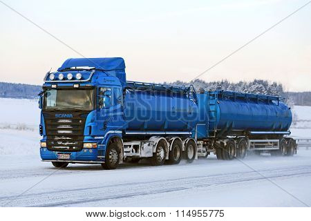 Blue Scania R500 Tank Truck On The Road In Winter Weather