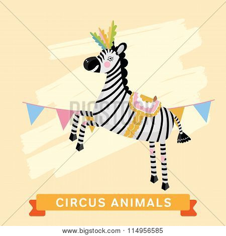 Circus Zebra, vector animal series.