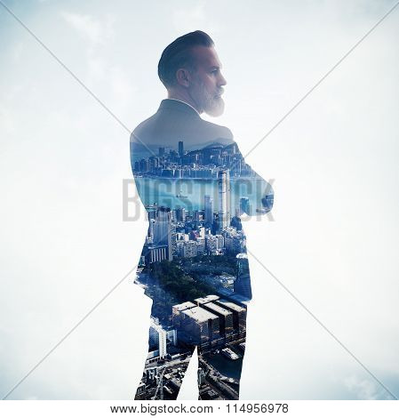 Portrait of stylish businessman. Double exposure city on the background. Square.