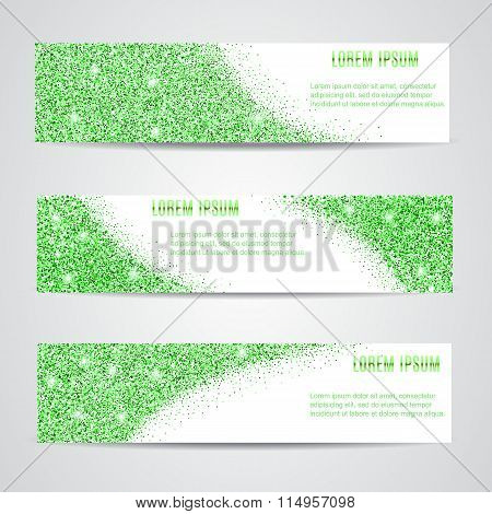Horizontal green Banners Set.