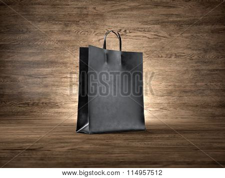 Blank craft shopping bag, wood background. Focus on the bag. 3d render