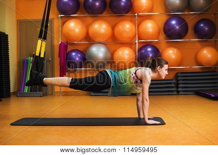 Women Doing Push Ups Training Arms With Trx Fitness Straps In The Gym Concept Workout Healthy Lifest