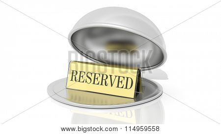 Golden reservation sign inside open serving dome dish, isolated on white.