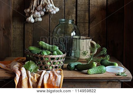 Still Life With Cucumbers, Fennel And Garlic.
