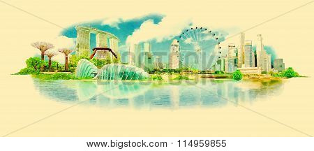 Vector Watercolor SINGAPORE City Illustration