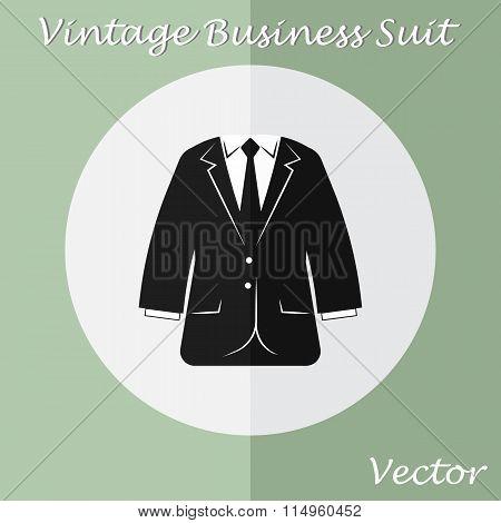 Vintage Business Suit ( Or Tuxedo Suit ) ( Vintage Style , Flat Design )