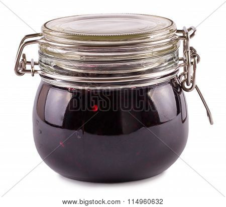 Currant berries jam in bank on a