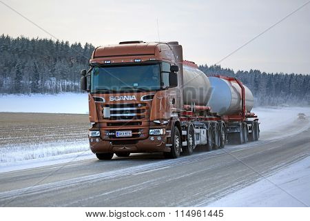 Bronze Scania Tank Truck On Winter Road