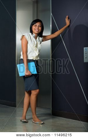 Cute Female Office Worker Casual Elevator