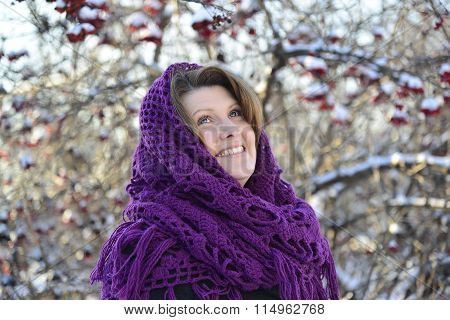 The Russian woman in shawl on  head