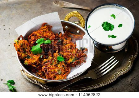 Carrot Fritters With Yogurt