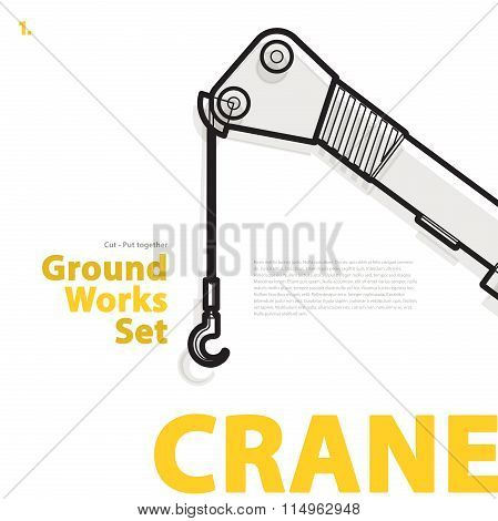Crane - yellow and orange typography set of ground works machines vehicles.