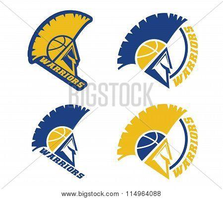 Emblems Of Basketball Warriors Team