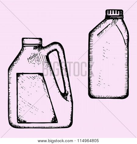 motor oil, plastic bottle