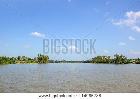 Bangprakong river in chachoengsao thailand