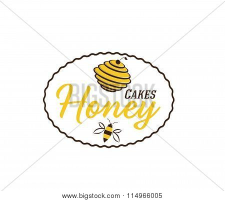 Vintage Emblem With Hive And Bee