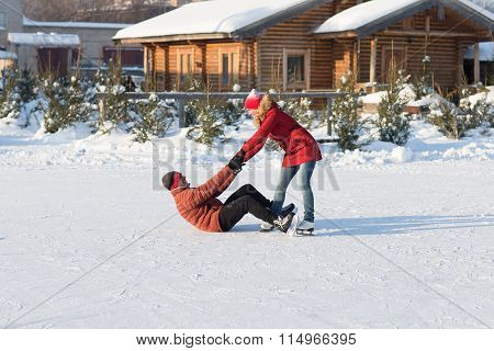 Falling Ice Skating Rink In The Winter