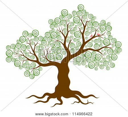 Vector illustration of abstract tree with swirls and two birds on white background