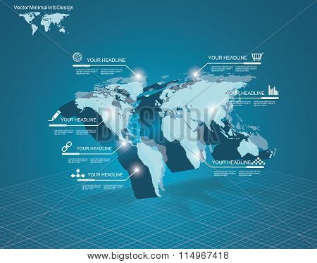World Map With Pointer Marks - Communication Concept And Infographics Design
