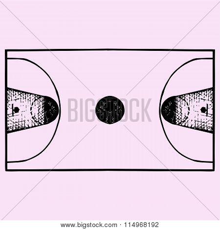 Basketball field, court, top view