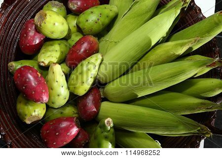 From the kitchen: Bowl of Corn and Cactus Fruit