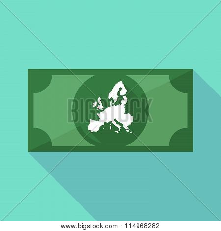 Long Shadow Banknote Icon With  A Map Of Europe