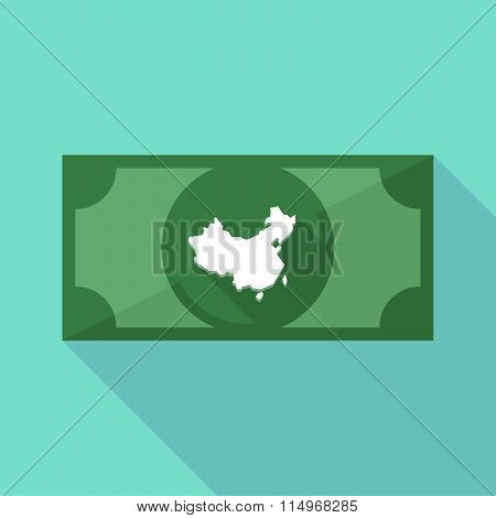 Long Shadow Banknote Icon With  A Map Of China