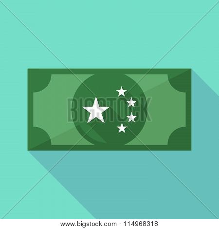 Long Shadow Banknote Icon With  The Five Stars China Flag Symbol