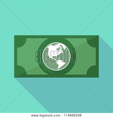 Long Shadow Banknote Icon With An America Region World Globe