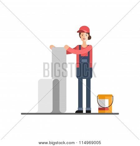 Home Repair Woman Glues Wall Paper Young Woman Worker in Uniform