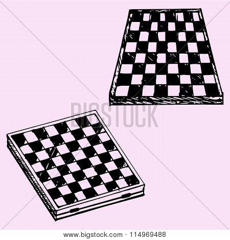 chess board or checkers board, set