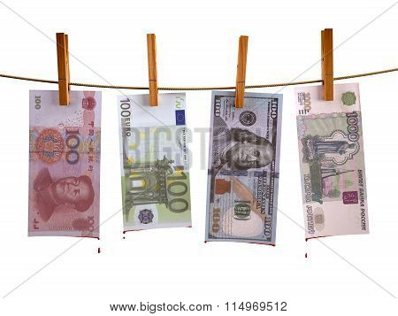 Many Banknotes Hunging With Blood