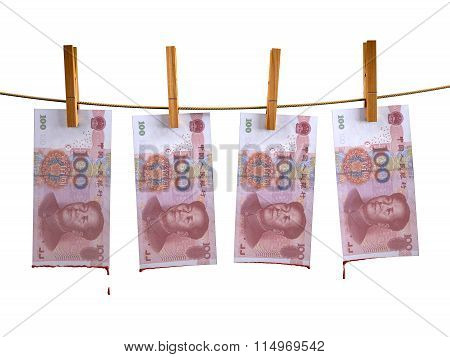 Many China Yuan Banknotes Hunging