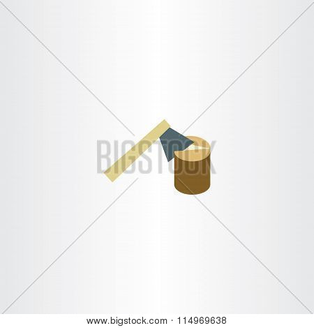 Axe Chopping Wood Vector Flat Icon